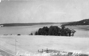Mountain Home Arkansas~North Fork Lake View~Cars Parked~1948 RPPC
