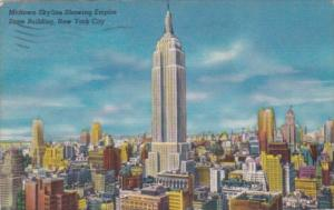New York City Midtown Skyling Showing Empire State Building 1952