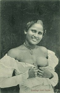 ceylon, Native Nude Woman showing her Breasts (1906) Postcard