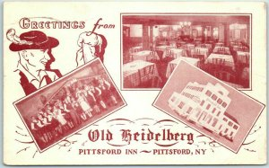 1935 Pittsford, New York Postcard PITTSFORD INN Greetings from OLD HEIDELBERG