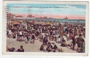 P440 JL 1931 postcard crowded beach atlantic city ny