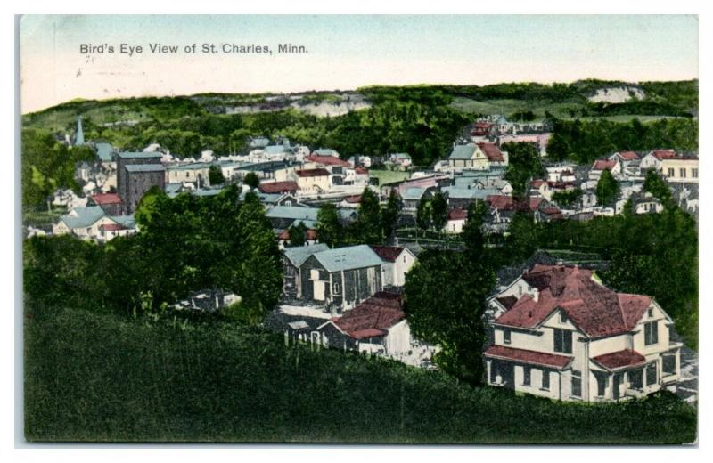 1909 Bird's Eye View of St. Charles, MN Hand-Colored Postcard