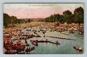 Henley-On-Thames, UK-United Kingdom, Oar Boats People Gathered, Vintage Postcard