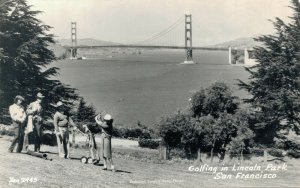 USA Golfing in Lincoln Park San Francisco RPPC 04.97