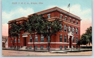 Winona Minnesota~YMCA~Flag on Roof~Trees Along Sidewalk~c1910 Postcard