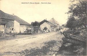 Marcilly  France (Haute-Marne) - Rue de la Gare Town View Postcard