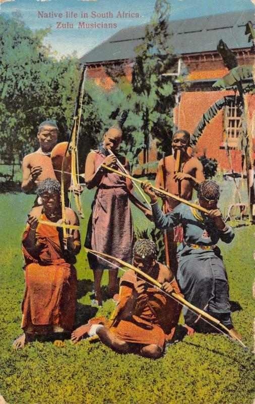 Vintage 1929 Postcard Native Life in South Africa Zulu Musicians #Z