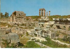 Greece, Ancient Corinth, Triglyphs, shops and the temple of Apollo, Postcard