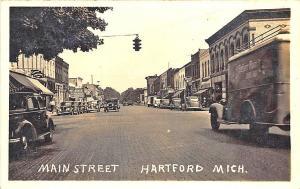 Hartford MI Main Street View Peter Pan Bread Truck Store Fronts RPPC Postcard