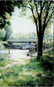Perth ON Ontario Stewart Park Foot Bridge Women Vintage Postcard D70
