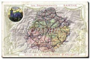 Postcard Old MAPS Chocolaterie d & # 39Aiguebelle Sarthe