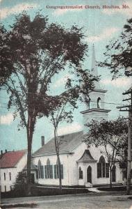 Houlton Maine Congregationalist Church Street View Antique Postcard K12134
