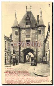 Old Postcard Villeneuve Sur Yonne Joigny Door Interior Riviera