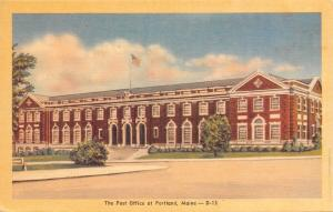 Portland Maine~The Post Office~1940s Colorcraft Linen Postcard