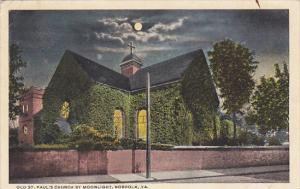Old St Paul's Church By Moonlight Norfolk Virginia 1923 Curteich