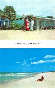Sunnyside FL Sandy Beach Babe Webb's Texaco Gas Station Postcard.