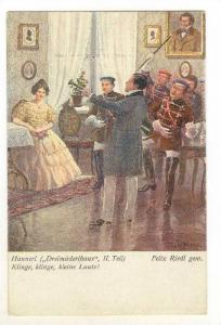 Art card, man directs band for woman, 00-10s