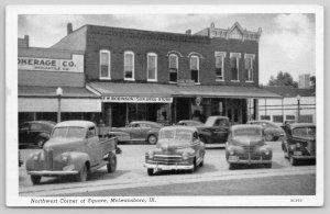 McLeansboro IL~FW Robinson & Son Drug Store~Mercantile Co~1940s Cars~Truck~B&W