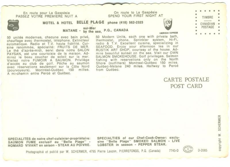 Canada, Motel & Hotel BELLE PLAGE, Matane, sur-Mer by the sea, P.Q. unused
