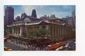 New York City NY Street View Library Old Cars Vintage Store Fronts Postcard