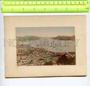 294434 JAPAN rice harvest & Yokohama view 1850-1860 years two tinted photos