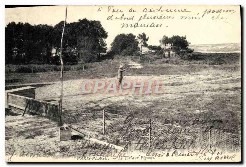 Old Postcard Paris Plage Le pigeon shooting