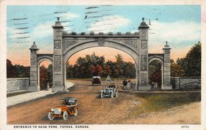 Cars and Entrance to Gage Park, Topeka, Kansas, early postcard, used in 1927