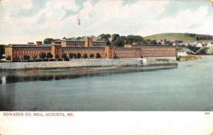 Augusta Maine Edwards Co Mill Waterfront Antique Postcard K101092
