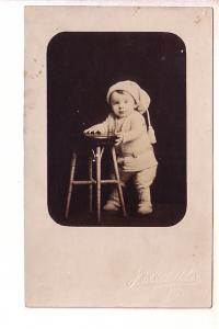 Real Photo, Baby Holding Chair to Stand, Great Hat, Canada