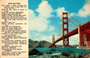 California San Francisco Golden Gate Bridge With Specifications