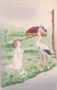 Birth Stork With Young Girl Hearty Congratulations