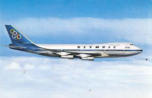 Olympic Airways Boeing 747-200 B Jumbo Jet in Flight Vintage Postcard (J31872)