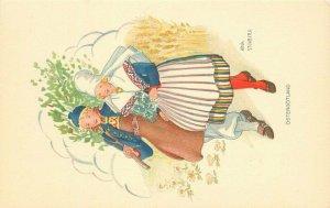 Anna Stenburg 1930s Ostergotland woman & Man Postcard 21-9476