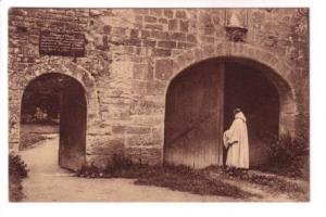 Sepia, Monk, Entrance Abbey at Orval, Belgium