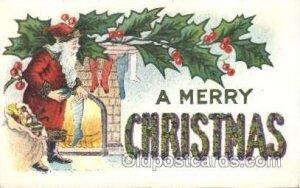 Santa Claus Christmas writing on back light corner wear, writing on back