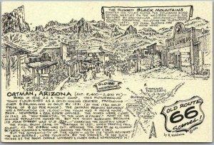 1990 ROUTE 66 Roadside Postcard Artist-Signed R. WALDMIRE Oatman, Arizona