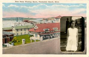 MA - Nantasket Beach. New State Waiting Room. RPPC Insert of Girl