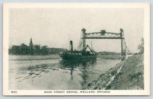 Welland Ontario Canada~Main Street Bridge~Lift Up~Freighter~1940s B&W Litho PC