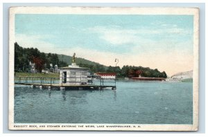 1917 The Weirs Lake Winnepesaukee NH Endicott Rock and Steamer Postcard