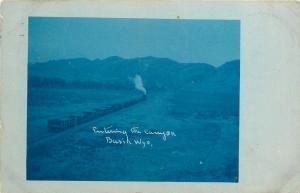 Basin WY~Steam Engine Train Entering Canyon~1907 Bluetint Real Photo Postcard