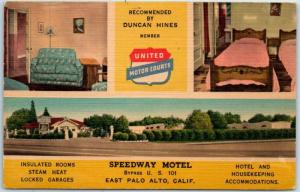 East Palo Alto, California Postcard SPEEDWAY MOTEL Highway 101 Roadside Linen