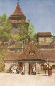 Ulm a. D. Partie am Zundeltorchen Fine paintong, antique German postcard