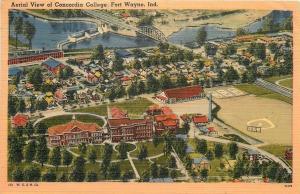 Fort Wayne Indiana~Concordia College Aerial~Baseball Diamond~Track~Houses~1943