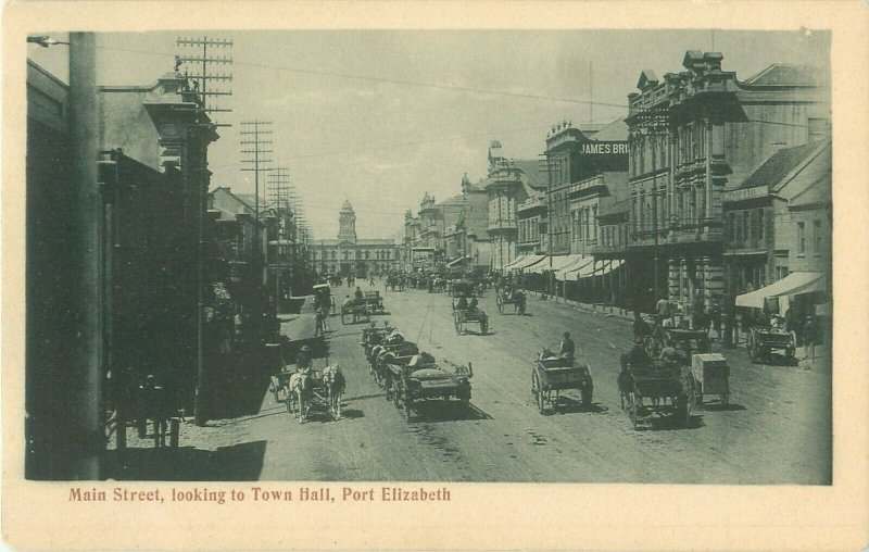 Port Elizabeth Main Street Looking South, South Africa Photo Postcard, Carriages