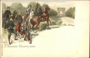 Army of France Horse Cannon Uniforms Arc De Triomph c1900 Postcard