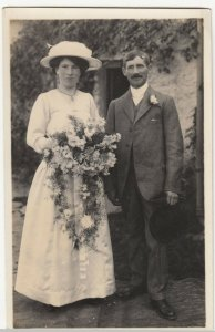 Anonymous Vintage Wedding Couple RP PPC, c 1910's, Social History