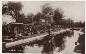 Berkshire; Sonning Lock No 8 RP PPC, 1932 PMK, Note Flower Beds & Boater