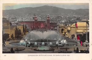 Vintage 1929 Hand Coloured Postcard Magic Fountain Barcelona Spain #B