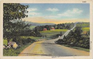 Driftwood-Sinnemahoning Pennsylvania~Country Road Passing by Farm & Fields~1938
