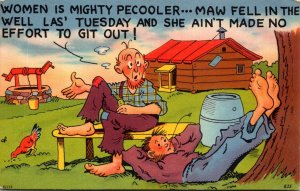 Humour Father & Son Women Is Mighty Pecoller Maw Fell In The Well 1956